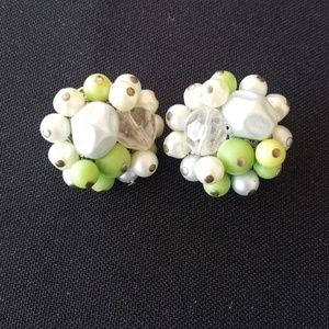 Vintage 1960s Green Clip On Cocktail Earrings
